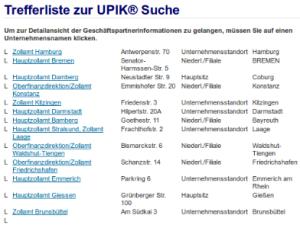 Trefferliste UPIK-Suche