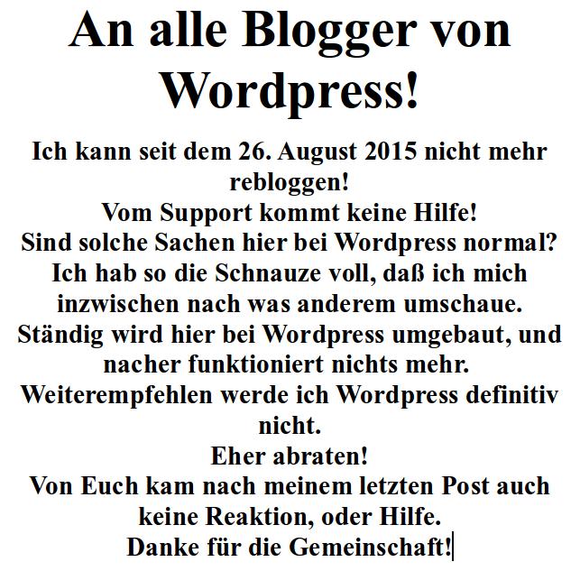 An alle Blogger